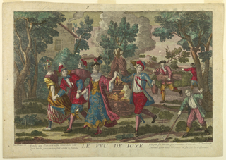 Young men and women in varied costume hold hands and dance with their backs to a fire which is tended by others at right. In landscape with tree and houses.