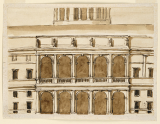 Drawing, Central section of a town mansion