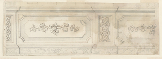 Horizontal rectangle. Pilasters decorated with guilloche with rosettes. Between these, panels with floral ornament. Suggestion of marble below.