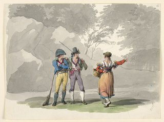 Drawing, A Woman and Two Men with Guns. Costumes of the Kingdom of Naples