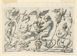 In the center is a candelabrum with a bearded mask sticking out an enormous tong, below, with a cup in the center. From it emerge two animals' heads, with ribbon-like reins which are held by a fantastic bat flying on top. Laterally are half-figures of a satyress at left, giving a stem to a satyr at right to eat. He satyr has an animal's head, is facing her, and is supporting a bowl. The half figures rise from scrolls with a fantastic male sphinx below at left, head at right. At left a mermaid, at right a satyress and plants.