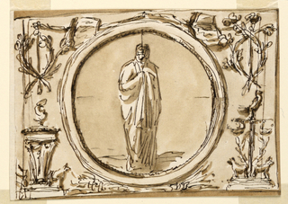 Roundel with a vestal, and grotesques for the decoration above the mirror, noble cabinet, Palazzo Altieri.