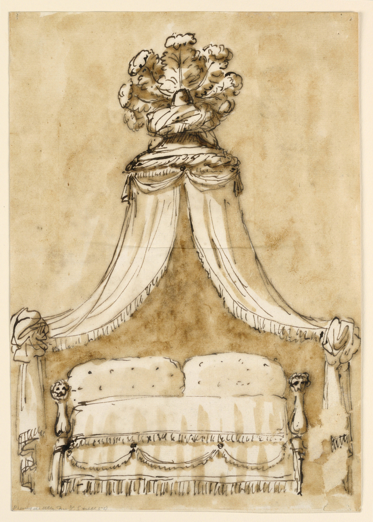 Elevation of a lit duchesse (daybed) with a tented canopy topped with ostrich plumes.