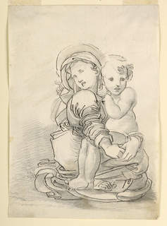 The Virgin is sitting on the ground, seen from the right side. The Child sits in her lap; she is holding him. The head of the Virgin is turned toward her right shoulder.