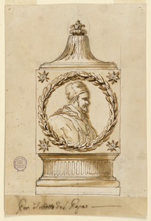 Drawing, Monument with medallion head of Pope Pius VI