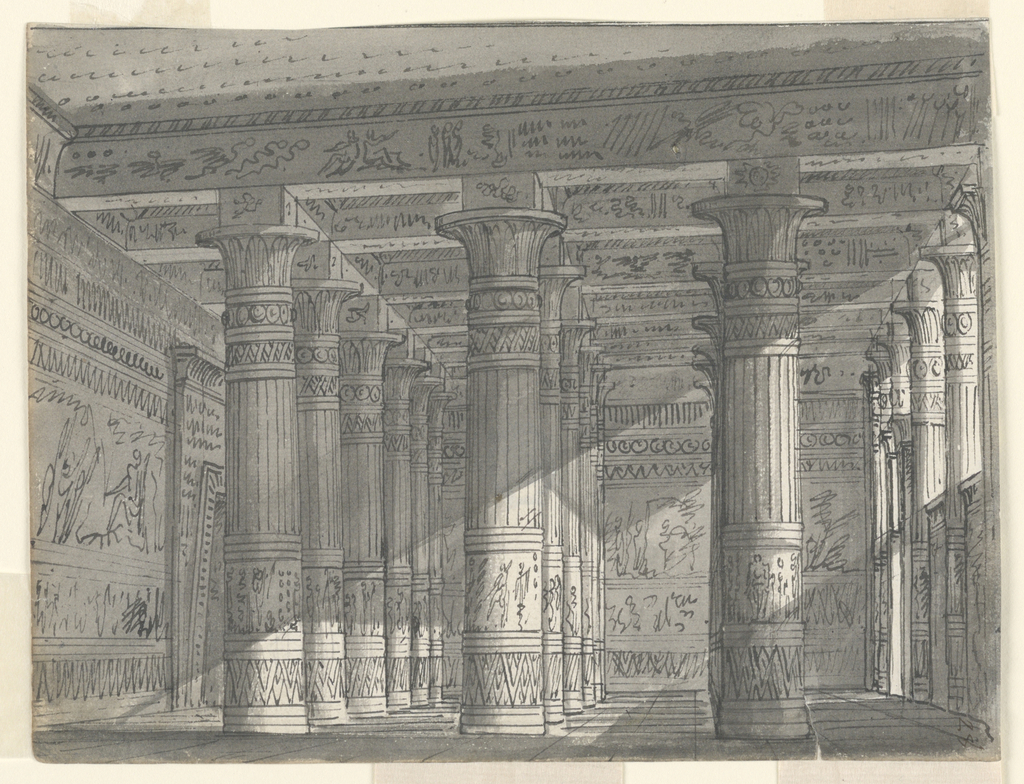 Horizontal rectangle. Hall in Egyptian building with richly decorated columns.