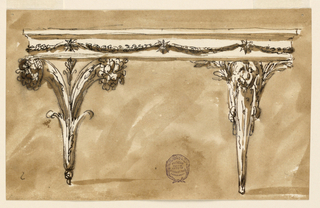 Elevation of a table with alternative suggestions. At left, the table is supported by two cornucopia; at right, a gaine with a lion head.