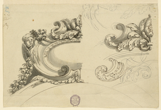At left: left half of an escutcheon on top of an arch, a cherub peeks from behind a scrollwork frame, a garland emerges from behind him. At right: left half of a palmette of acanthus beside a scroll. Above the latter: sketch for part of the escutcheon at left, sketch of acanthus leaves. Below: an unfinished design similar to the on above it. Pen scribbles above at left.