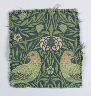 Paired birds among leaves and flowers in greens, pinks, cream and pale blue on a dark blue background.