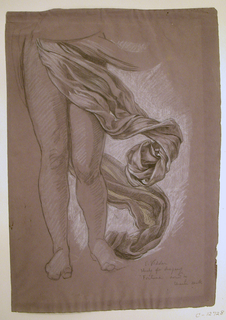 "Study of drapery falling below the waist, swirling about the legs of the figure. SIgned and inscribed, lower right: ""E. Vedder / study for drapery / ""Fortune"" / owned by Charles Keck."""
