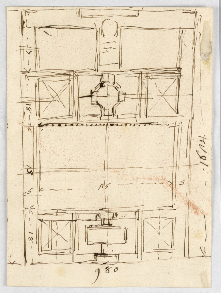 Complete plan with measurements; an oblong of 980: 1642.