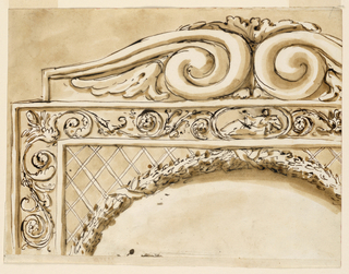 Drawing, Frame, probably for chair back