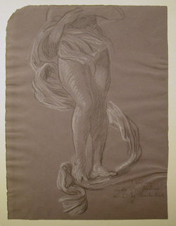 "The lower section of a woman's figure, a long section of drapery swirling about her and extending beneath her feet. Signed and inscribed lower right: ""E. Vedder / study for Fortune / owned by Charles Keck."""