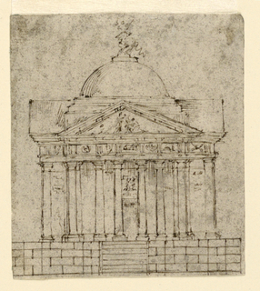 Elevation of a domed tempietto set on a high base approached by steps. Matching porticos appear on all sides featuring columns of the Doric order and sculptured entablature and pediment.