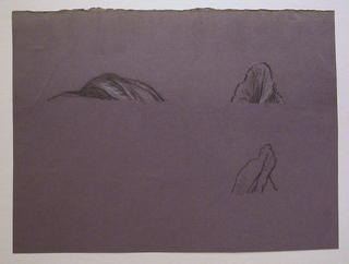 "Three small detail studies of drapery, possibly for ""Fortune."""