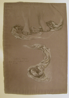"Study of drapery beneath the feet of the figure; below: Study of drapery. Signed and inscribed, lower left: ""E. Vedder drapery / study for ""Fortune"" owned / by Charles Keck."""