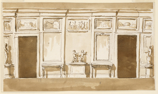 Drawing, Entrance wall of a drawing room