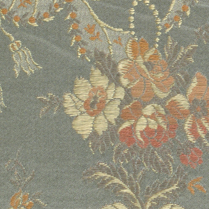 a. rust color ground with floral bouquet b. blue/grey ground with floral bouquet