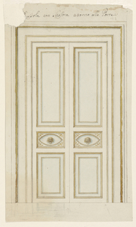 Drawing, Carved door