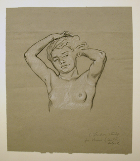 "Bust-length nude figure of a girl, facing  the spectator. Her arms are upraised, in the act of arranging her hair. Signed and inscribed in pencil, lower right: ""E. Vedder study / for Venus (ceiling detail).""  (refers to Collis P. Huntington ceiling, commissioned Aug. 1892, finished by Sept 1893, now at Yale)"