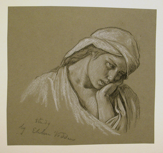 "Bust-length figure of a girl, her head turned sharply to the right, bowed forward, supported by her left hand. A draped headdress covers her head. Inscribed and signed, lower left: ""Study / by Elihu Vedder."""