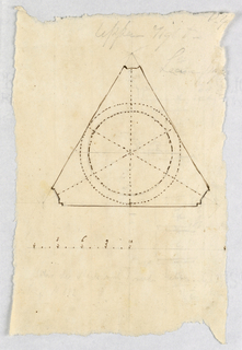 Drawing, Recto: domed triangular room; Verso: colonnade and a dado