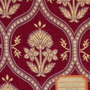a. rust color ground with blue/grey and metallic gold motif of a carnation in an ogival framework  b. gold color ground with blue/grey and metallic gold motif c. dark red ground with blue/grey and metallic gold motif d. same as above e. green ground with rust color and metallic gold motif