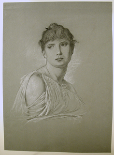 Bust-length portrait of a young woman, turned toward the right, her head shown full-face looking at the viewer.