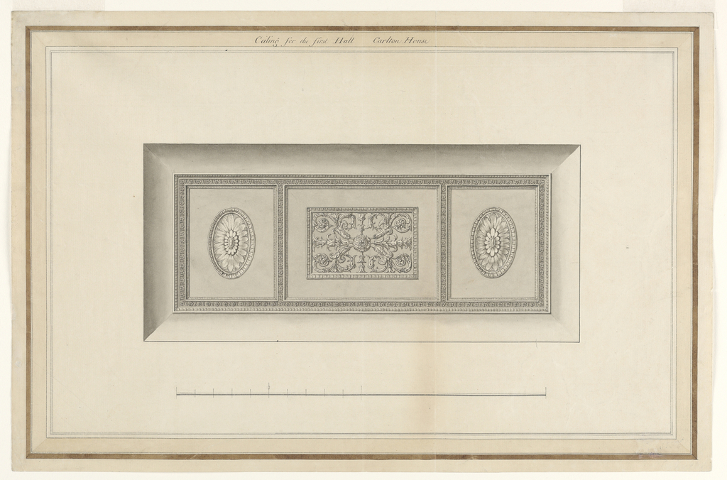 Horizontal format design for an oblong plaster ceiling. Outside, a vaulted strip. A moulded frame surrounds two lateral vertical rectangles and a central horizontal one. Ovoids with blossoms are in the center of the first ones in that of the central one is framed oblong with an acanthus motif. Below the scale. Elaborate framing near the edges. Something has been erased in the lower right corner.