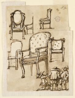Various views of upholstered armchair with clawfoot. Below, three men conversing.