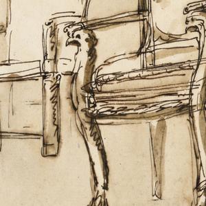 Various views of upholstered armchair with clawfoot. Below, three men conversing.