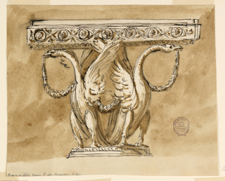 Elevation of a table, the base is on the form of two swans with festoons. At top, a frieze of guilloche.