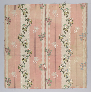 Zig-zag floral bands on pink and white striped background.