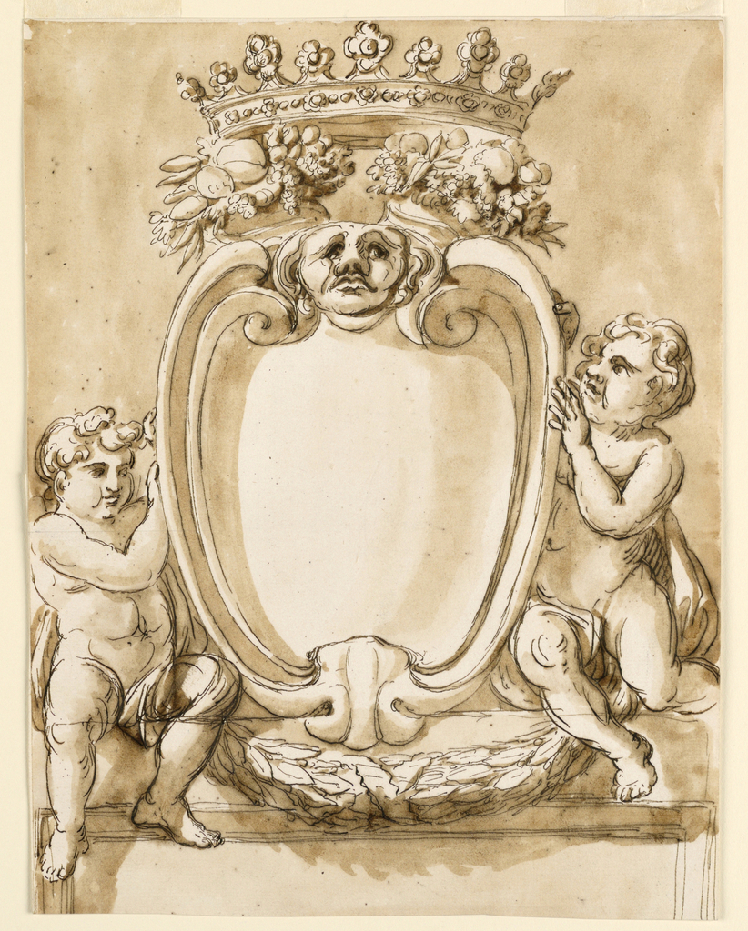 Vertical rectangle. An escutcheon in 17th century style, with a head above in the interval between scrolls, is supported by two sitting children, connected by festoons. The upper parts of two crossed cornucopias are on top, supporting a crown. Below is the upper part of the door case. Usual background.