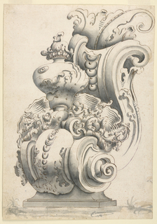 Vertical format design for a bracket. Scheme is that of a scroll, with a leaf on top of upper volute, and with a vase and shell on top of this lower volute. Verso: squared in graphite.