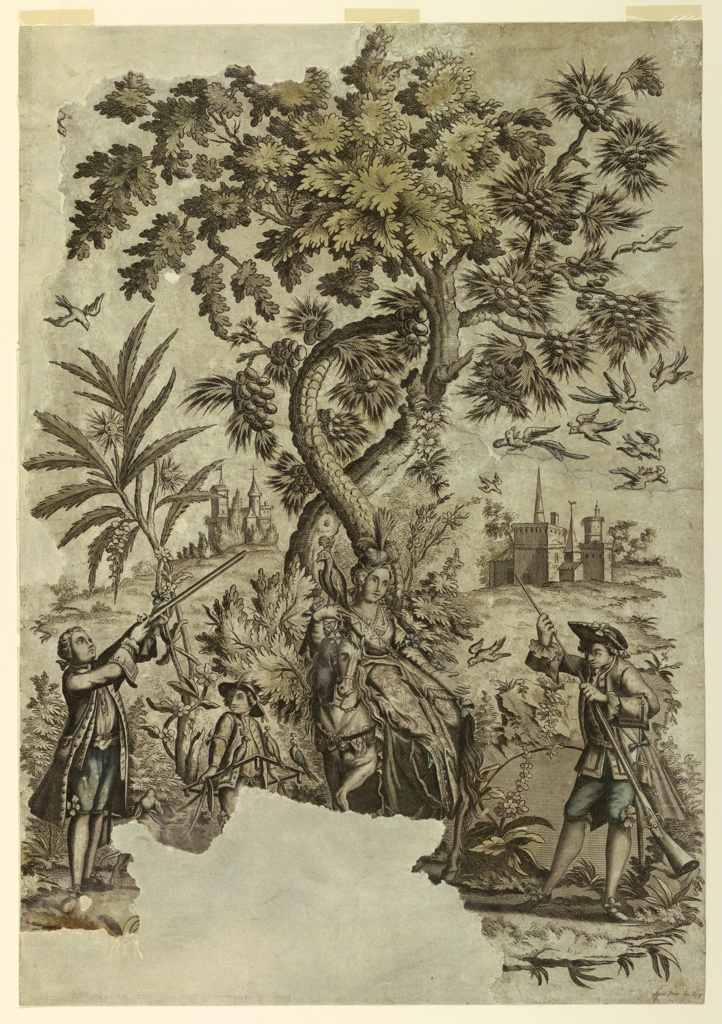 A young man standing at left takes aim at a flock of birds at right. A boy holding dogs and a decoy stand beside him. A lady on horseback holds a falcon. She stands in the center under two trees. A man charges his gun, at right. Two groups of buildings in the distance.