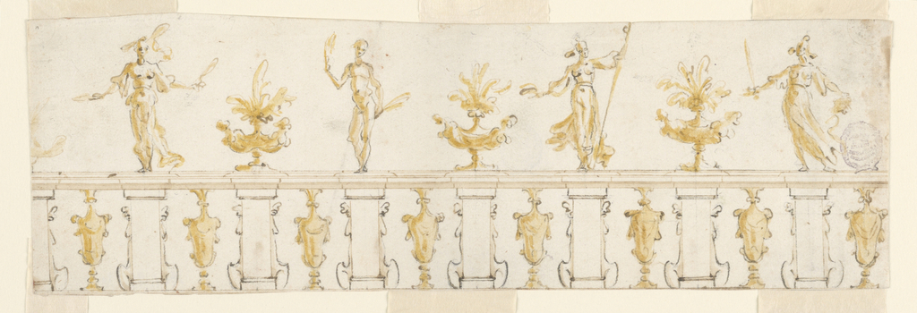 Figures and vases stand upon a balustrade.
