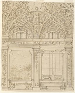 Elevation of a room, showing two bays and a section of a ceiling. Both bays have windows in the lunettes above the entablature. The left bay is decorated with a view into a garden. Below, a balustrade and a stone bench. At right, a window with two wings. Below, a bench in front of the dado. The framing pilasters are decorated with candelabrum and garlands. The vaulted ceiling shoes a trellis architecture with vine branches. Birds fly above the central compartment and sit upon the rim.