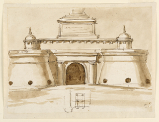 Drawing, Entrance to a fortress
