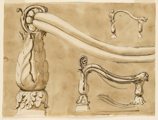Drawing, Lower end of staircase railing