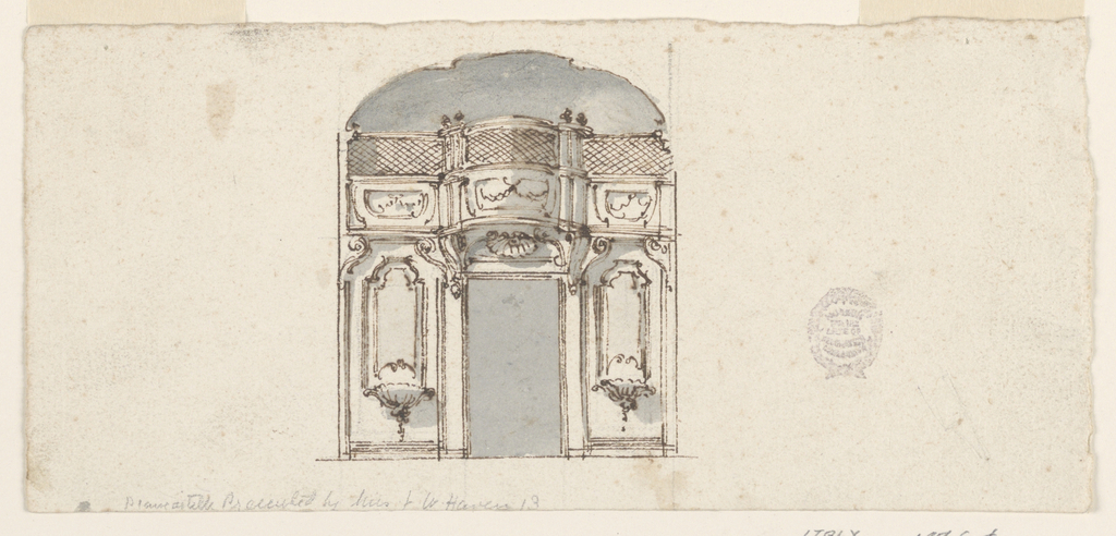 Elevation of a wall with a gallery above. At center, a door. Above this, a shell ornament and the gallery bows out in a convex curve.