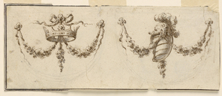 Horizontal rectangle showing designs for two festoons. At left, a crown; at right, a helmet and shield. Verso: part of an accounting, ending with 14:8. Sketches with black crayon.