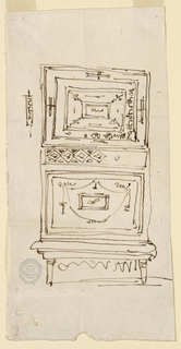 Elevation of a cabinet with roughly-sketched inlaid work. Two drop doors are seperated by a drawer with a lozenge band.