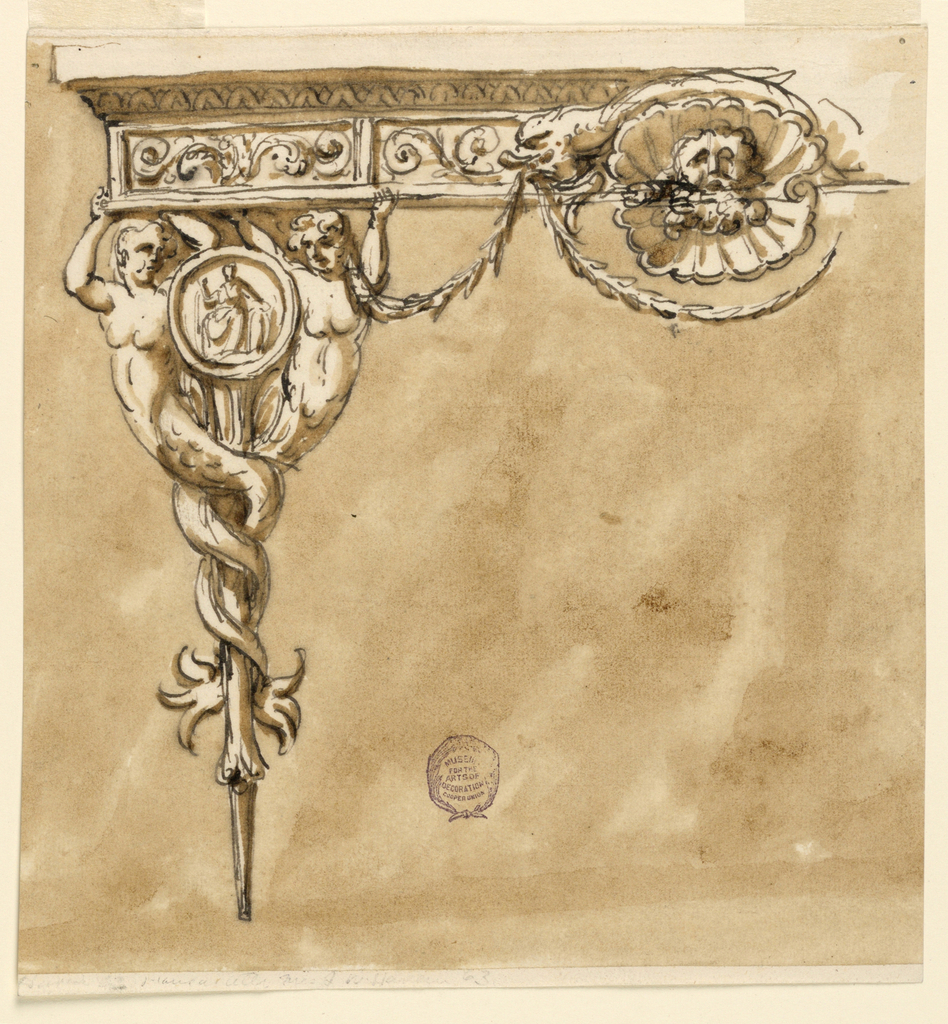 Elevation of a table, the leg in the form of two mermaids with entwining tails. Between them, a medallion with a seated figure. Below the lip of the table, a frieze with scrolling decoration. At center, a mask sitting within a shell. Swags hang below.