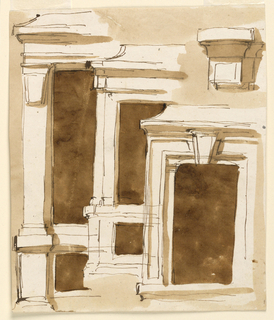 Drawing, Four window frames