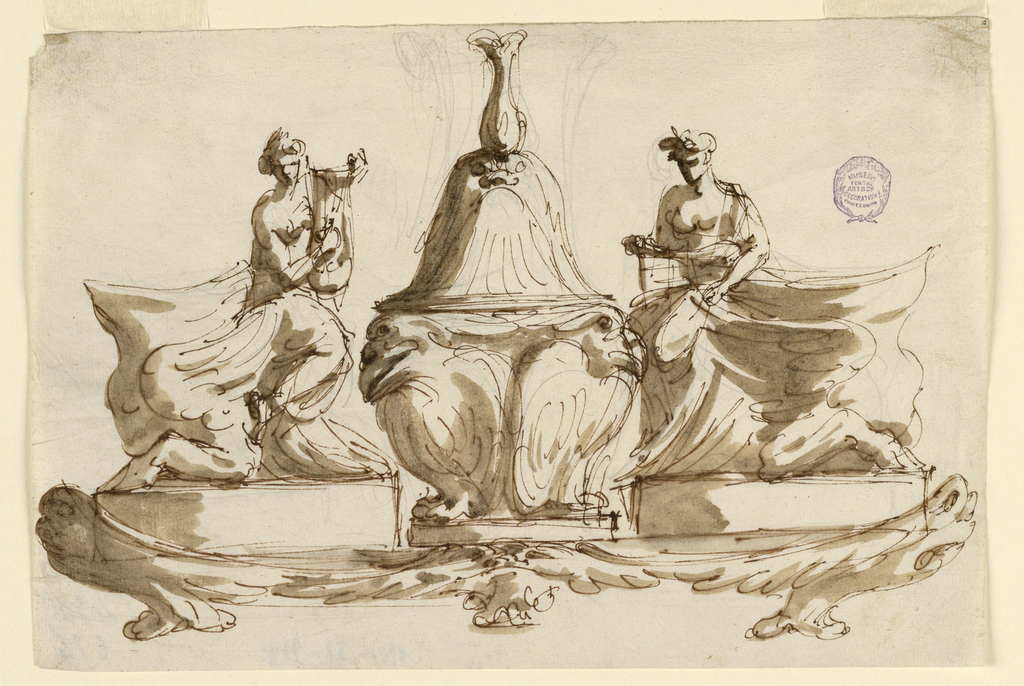 Base formed by fantastic fishes and a mask. Stand at the center with two birds. On either side a woman, the left holding a lyre, both sitting on the back of a headless sphinx.