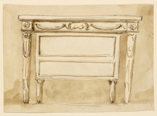 Drawing, Console table with chest of drawers