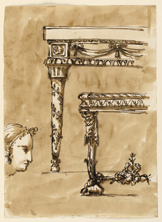 Drawing, Console table; female head