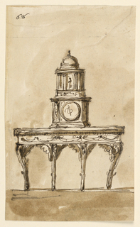 Drawing, Console table with timepiece