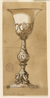 Vertical rectangle. The foot is decorated with cherubim above festoons. The stem has the shape of a baluster upon a convex twisted pedestal. Around the lower part of the shaft is a band with circular medallions. The bowl is decorated with a leaf calyx and a row of acanthus calices supporting with the upper scrolls a festoon. Dark colored background.